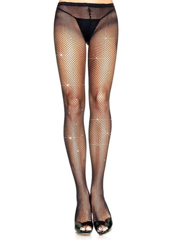 Lycra Fishnet Stockings With Rhinestones - Costumes & Lingerie Australia