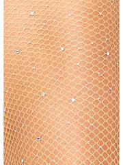 Kylie Nude Sparkle Glitter Crystalized Rhinestone Fishnet Tights - Costumes & Lingerie Australia