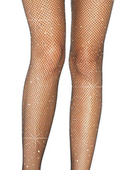 Plus Size Black Crystalized Rhinestone Fishnet Suspender Pantyhose - Costumes & Lingerie Australia