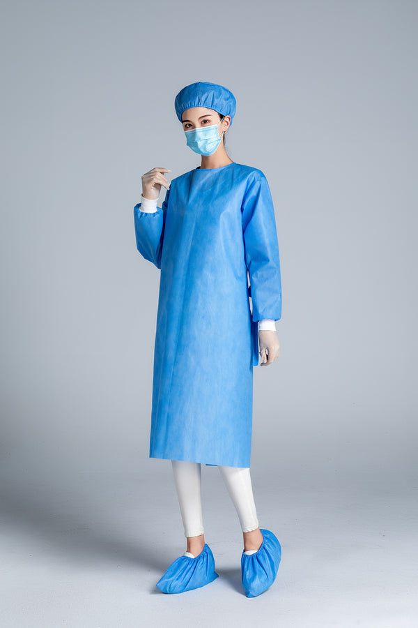 Non-woven Disposable Medical Isolation Gowns in BLUE AAMI Level 2 - Box of 10pcs, 100pcs and 1,000pcs