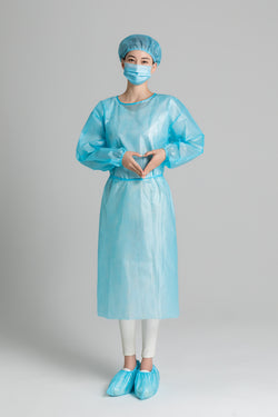 Non-woven Disposable Medical Isolation Gowns in LIGHT BLUE AAMI Level 1 - Box of 10pcs, 100pcs and 1,000pcs