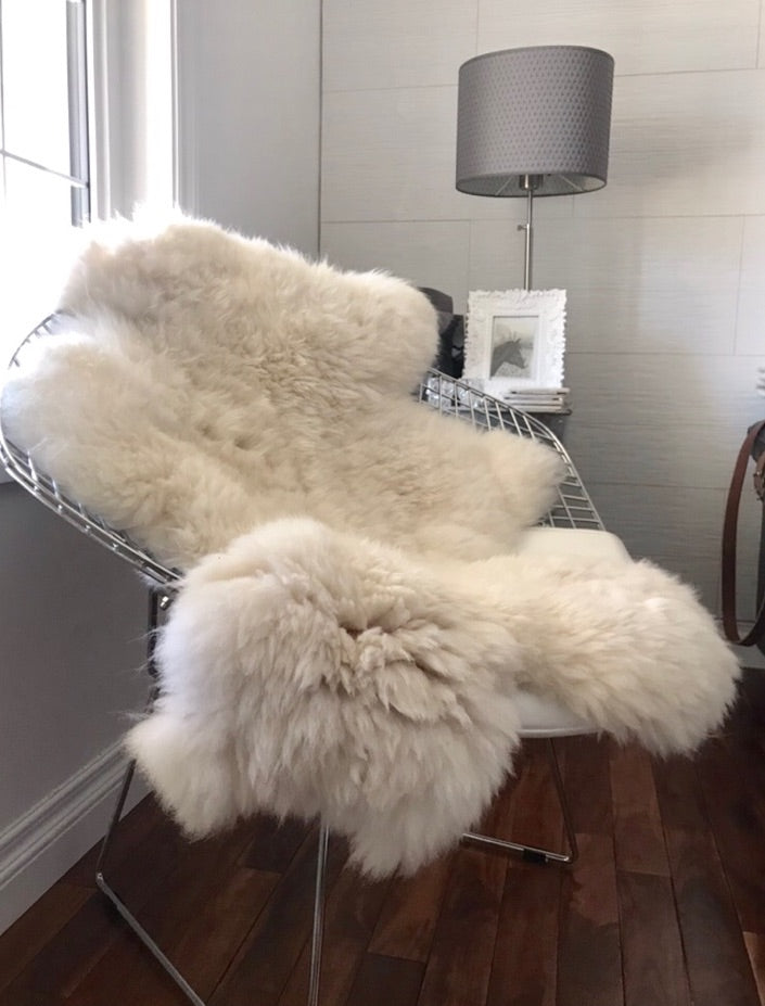 100% Real Alpaca Fur Skin Throw/Rug