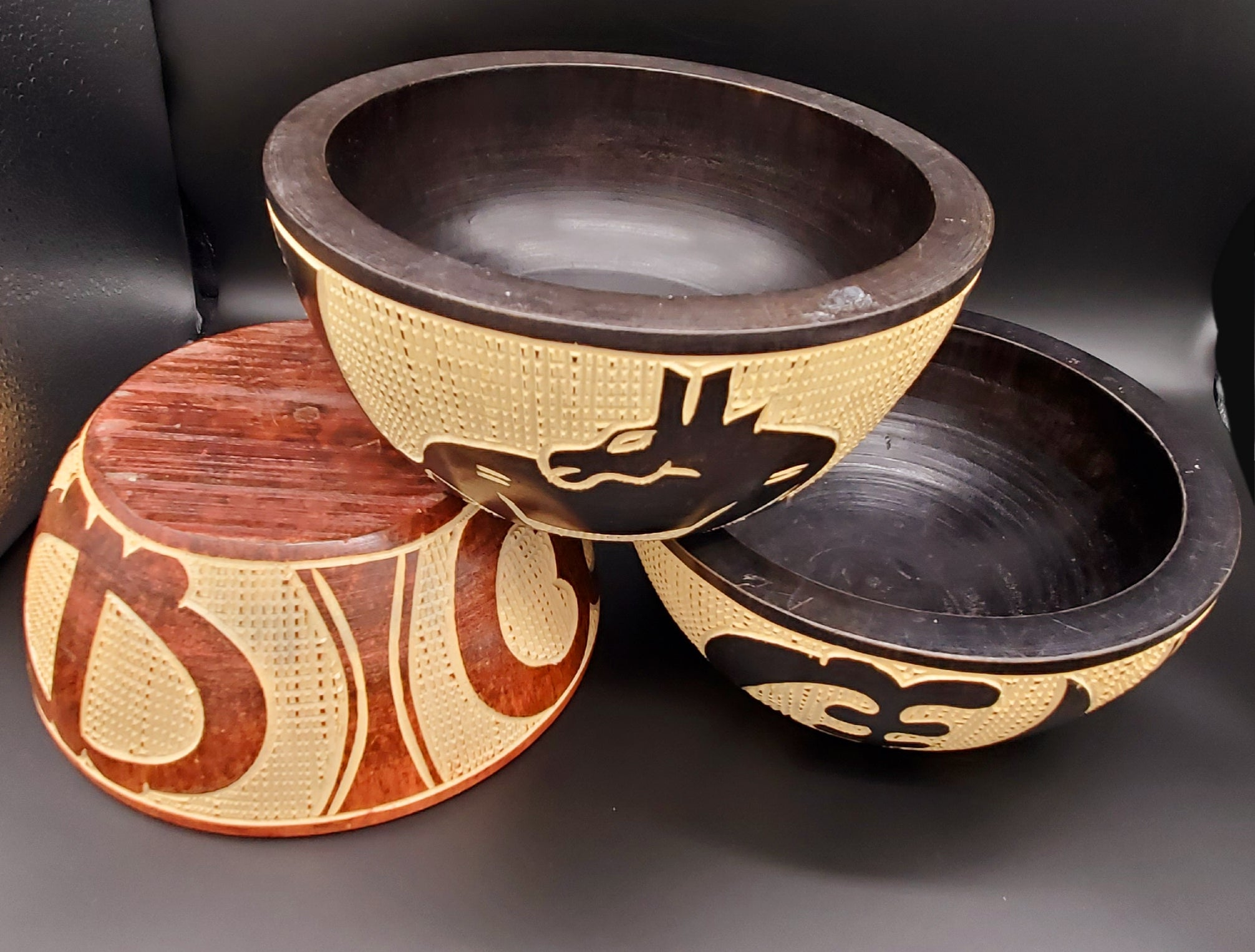 Handmade solid wood carved bowl & unity stand.