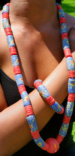 Glass bead necklace, Traditional Ghana, no metal