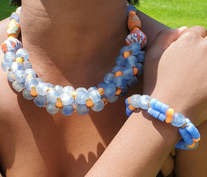 Glass bead necklace, Traditional Ghana, no metal, orange, lt blue