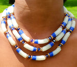 Glass bead necklace, Traditional Ghana, w/metal clasp