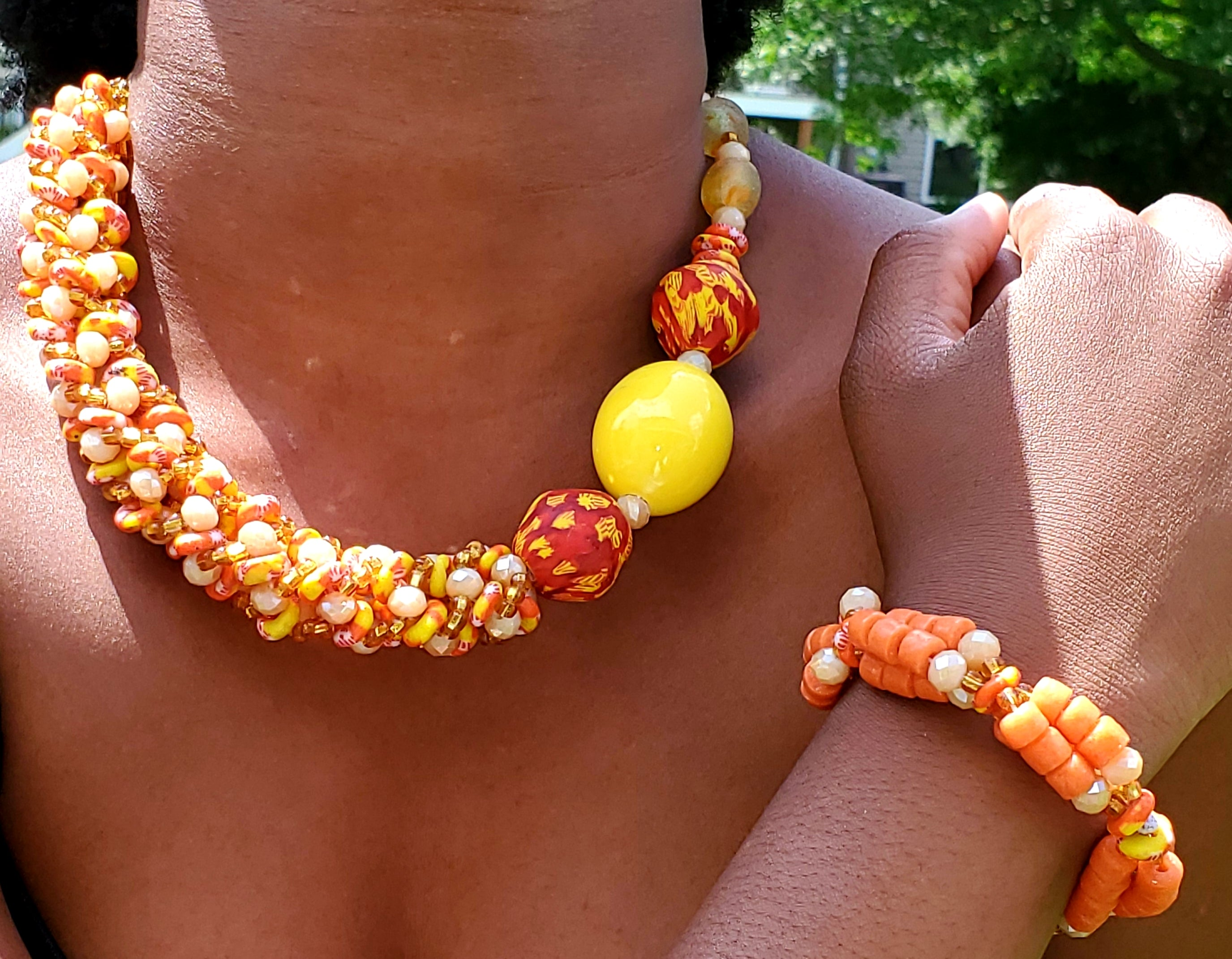 Glass bead necklace, Traditional Ghana, no metal, orange, yellow