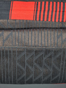 Brown Underlay, black and Red Embroidered Kente