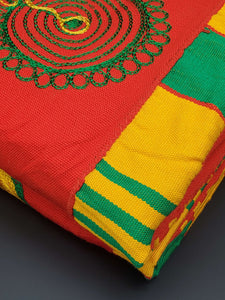 Red, Gold & Green Embroidered Kente 2pcs