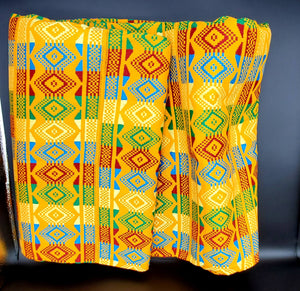 Multi-colored Traditional Kente (Gold, Green, Red, Light Blue) 1pc 12yds