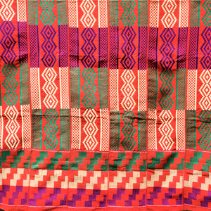 Multi-colored Traditional Kente (Orange, Gold, Purple, Green) 3pcs