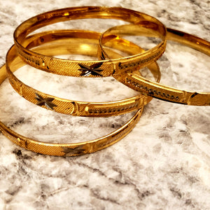 24K Gold Color Brass Bangle And Cuffs