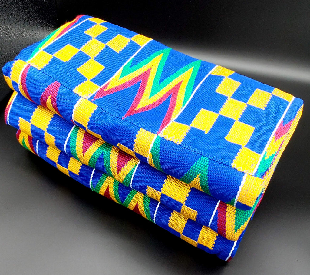 Multi-colored Traditional Kente (Yellow, Aqua, Fuchsia, Blue) 3pcs