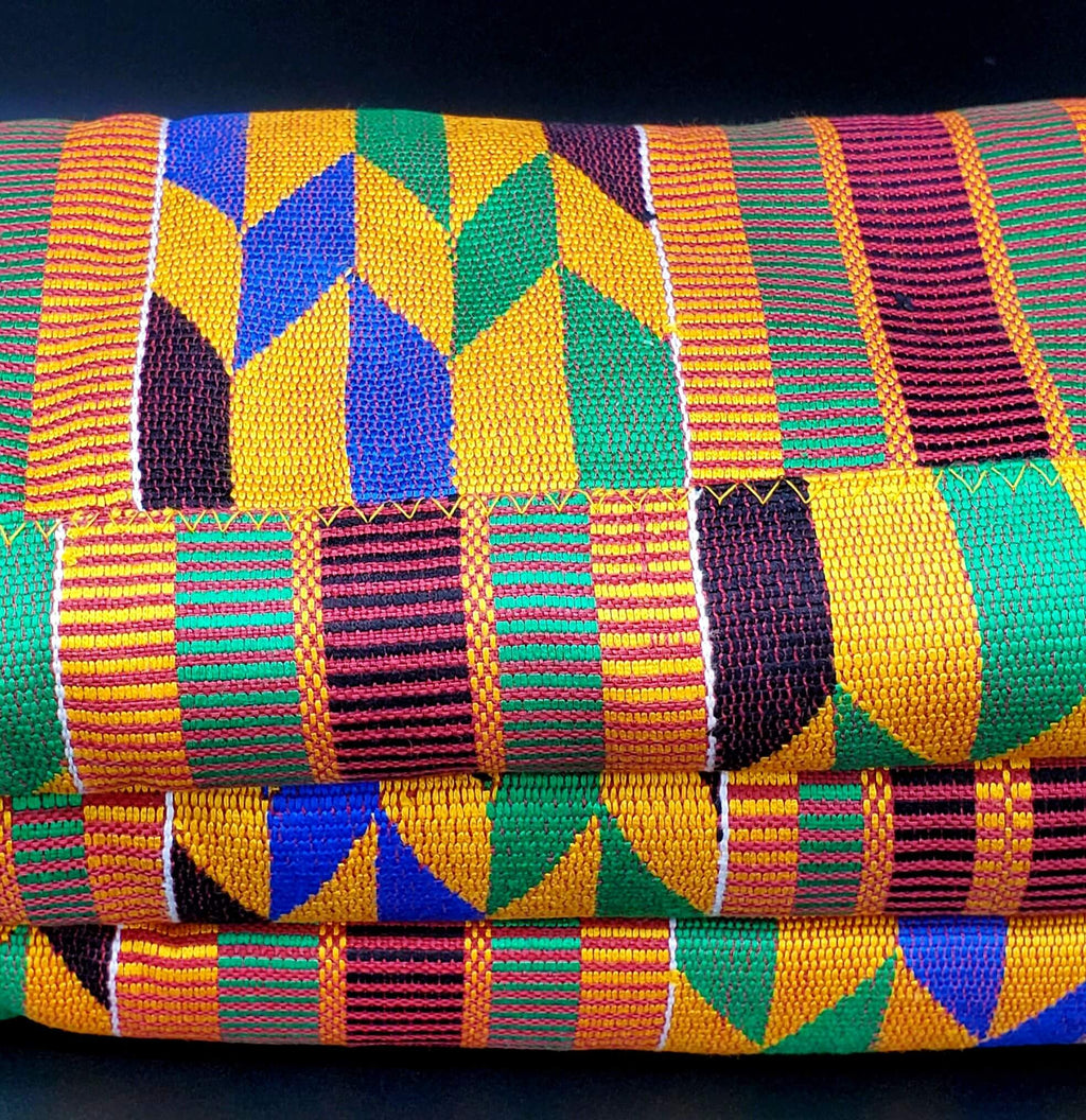 Multi-colored Traditional Kente (Mustard, Burgundy, Green, Black, Blue) 3pcs