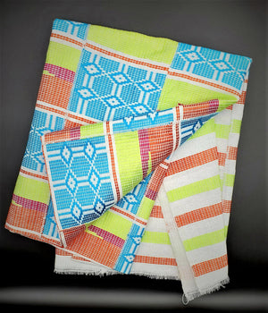 Multi-colored Traditional Kente (Light Blue, White, Lime Green, Orange, Fuchsia) 3pcs