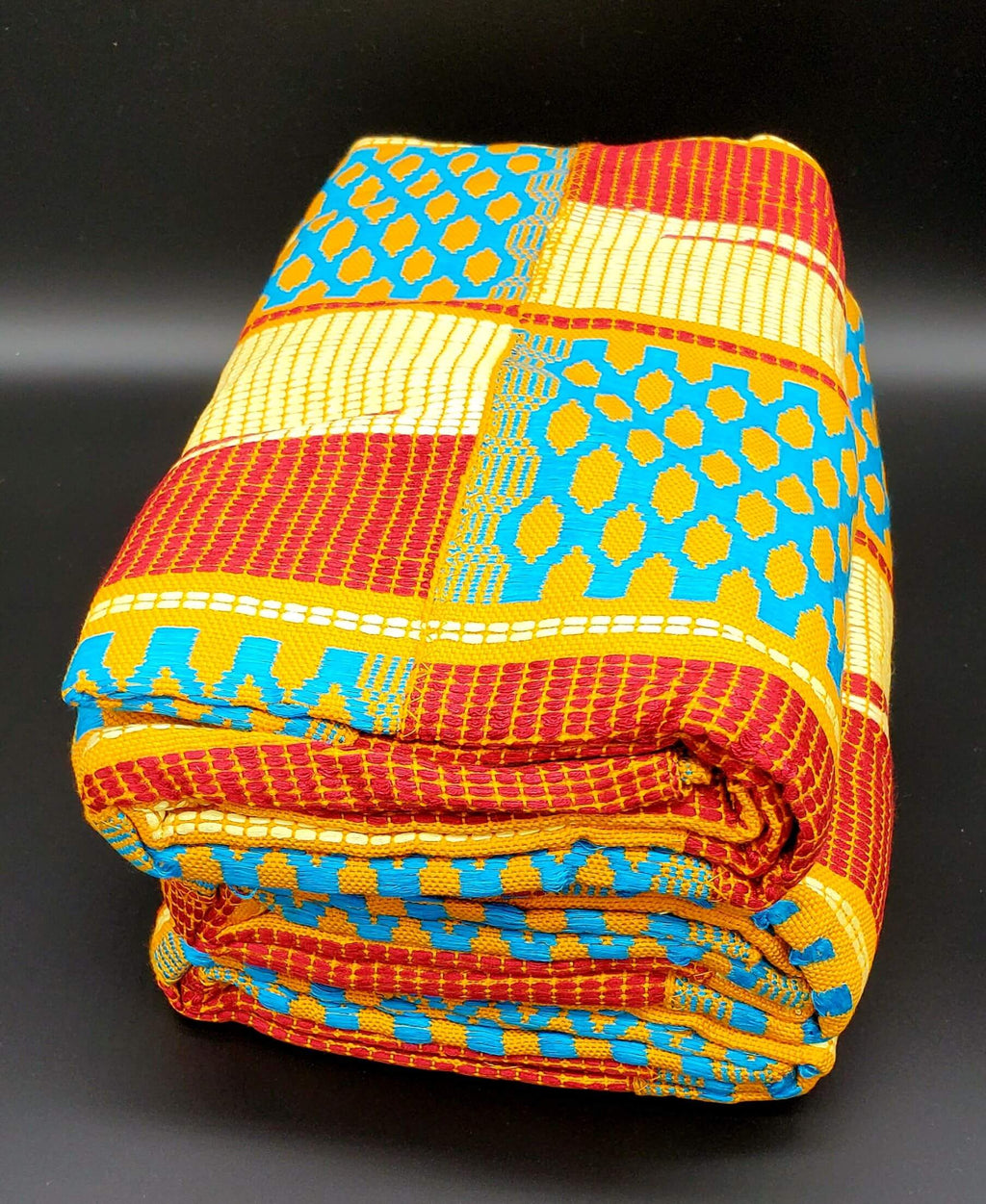 Multi-colored Traditional Kente (Mustard, White, Light Blue, Red, Gold) 3pcs