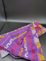 Multi-colored Traditional Kente (Purple, White, Fuchsia, Gold) 3pcs