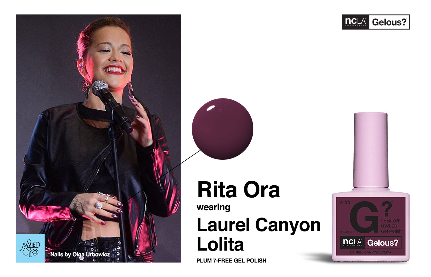 Rita Ora, Purple Nails, NCLA Gelous, 7-Free Gel Lacquer, Gel Nails, Nailed It Warsaw