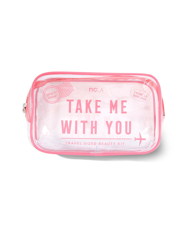 Take Me With You! Pink Cosmetic Bag