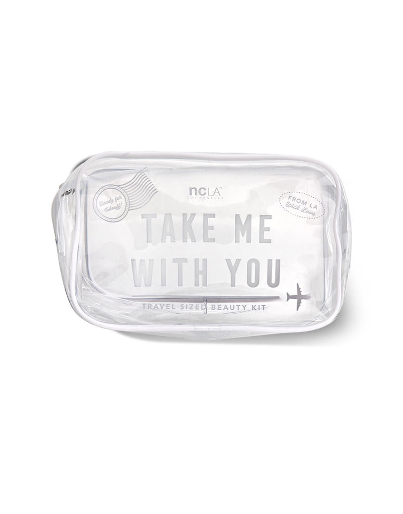 Take Me With You! White Cosmetic Bag