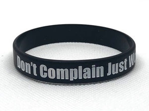 "Bracelet en silicone noire ""Don't Complain Just Work Harder"""