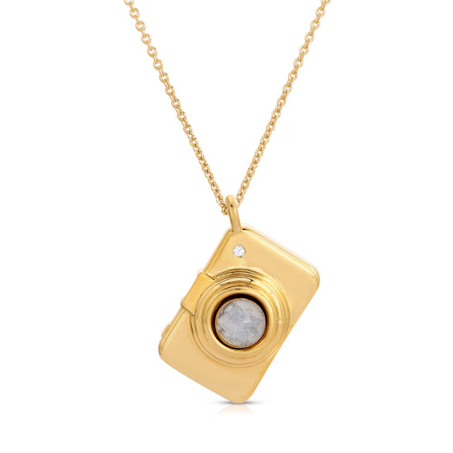 Camera Yellow Gold Modern Locket