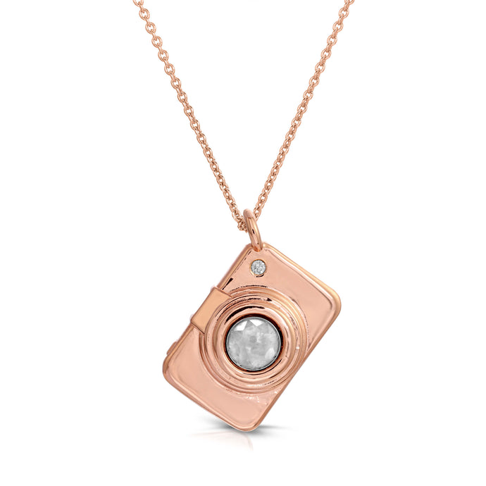 Camera Rose Gold Modern Locket