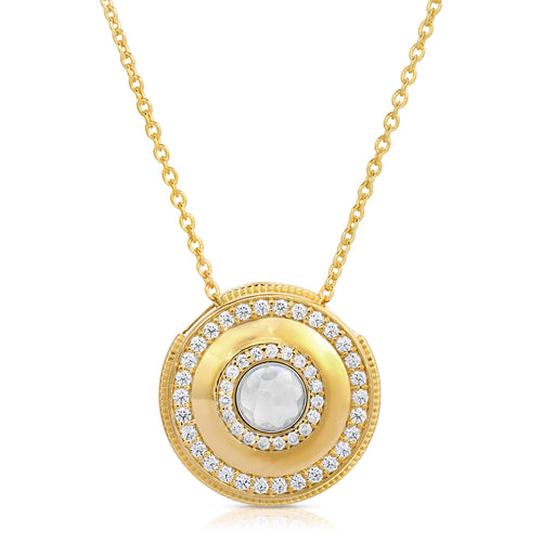 Medallion 14K Yellow Gold Plated Modern Locket