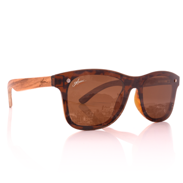 Occhiali da sole in legno da donna Polarized Brown Havana Zebrano Wood