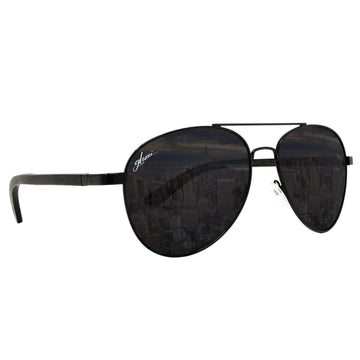 Aviator Uomo Aviator Wood Polarized Black Ebony