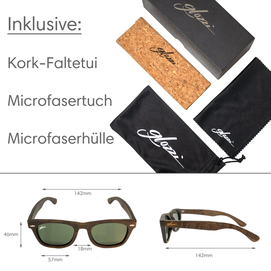 glozzi The Adventurer - Brown Bamboo Bambus Sonnenbrille Wayfarer