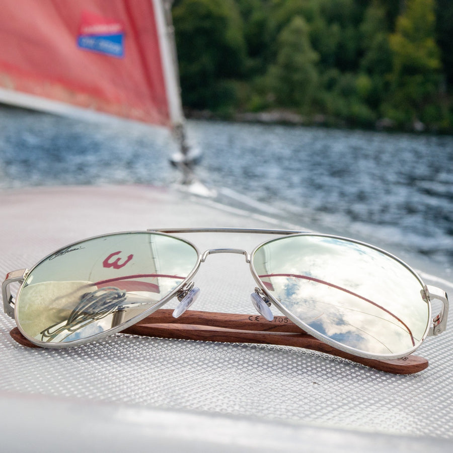 glozzi The Captain - Rosewood Pilotenbrille mit Holzbügeln