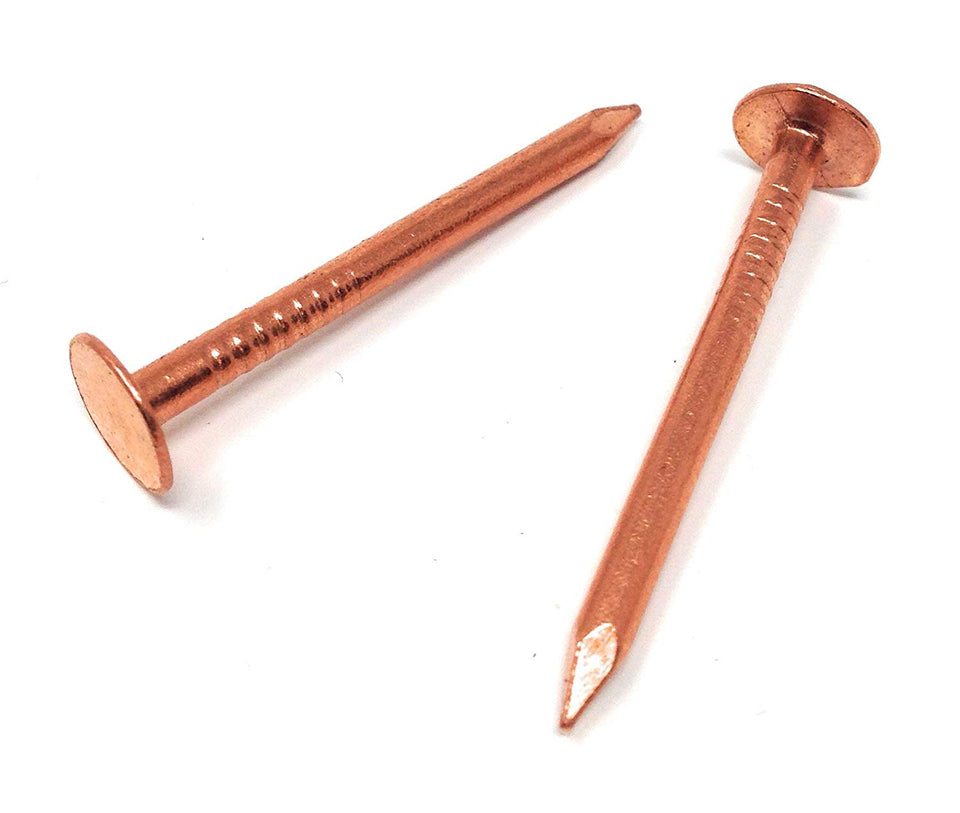 "1-3/4"" Smooth Shank Copper Nails #11 Gauge for Roofing, Tile & Slating *6oz Pack*"