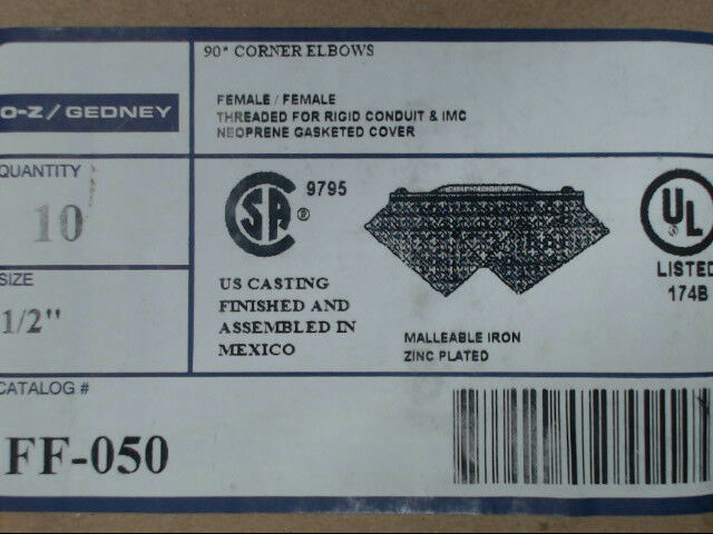 "Emerson O-Z Gedney FF-050 Female 90 Degree 1/2"" Malleable Iron Elbow *Box of 10*"