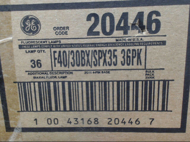 GE Biax 20446 Fluorescent Lamp F40/30BX/SPX35 4-Pin 2G11 Base *Box of 36 Lights*