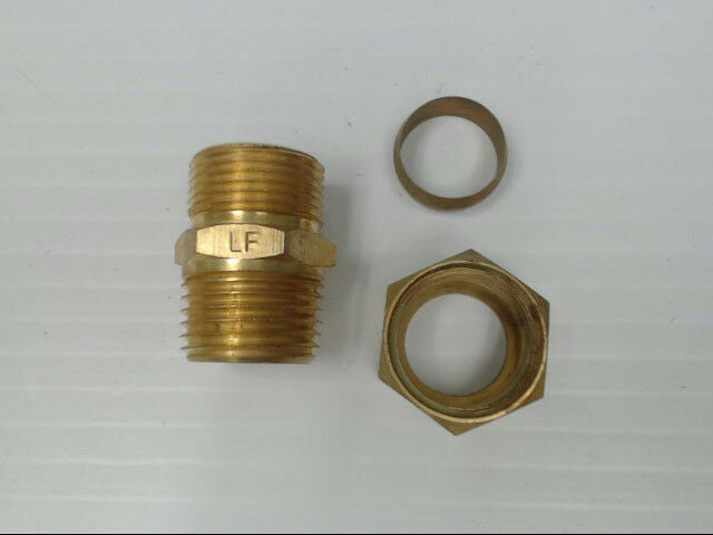 "Brass P-68-108-LF Tube to Male Straight Pipe 5/8"" x 1/2"" Adapter Fitting *Qty 10"