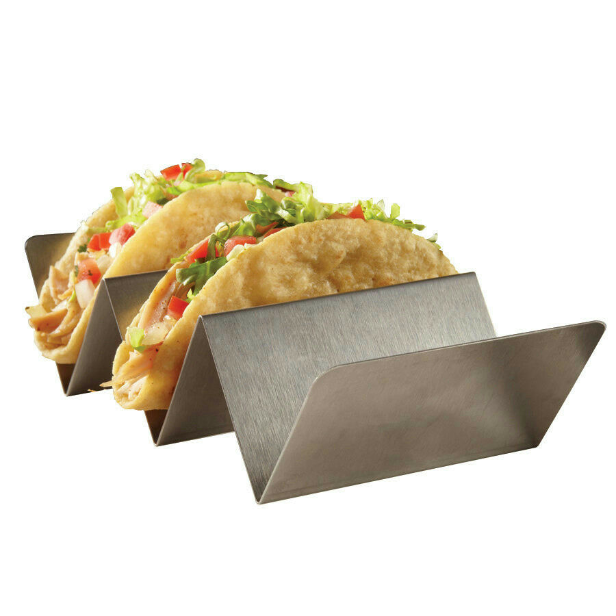 "American Metalcraft TSH3 3 Compartment Stainless Steel Taco Holder 4"" x 8"""