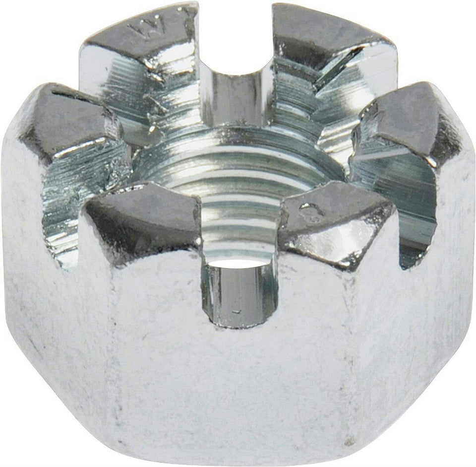 "Earnest 2-4 1/2 Carbon Steel 2"" Slotted Hex Castle Nut Zinc Clear Trivalent"