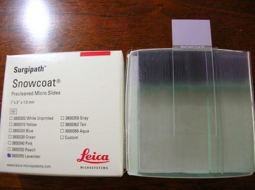 Leica 1 mm Surgipath Snowcoat Micro Slides 3800355 Lavender 1/2 Gross Pack of 72