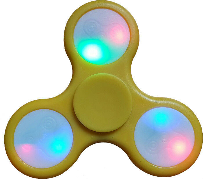 Fidget Spinner Yellow LED Multi-Colored Lights *Dead Battery on 1 of the 3 Sides