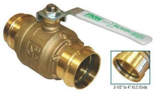 "FNW 1-1/4"" Low Lead Brass 2PC Full Port Water Service Ball Valve X432 Press Ends"