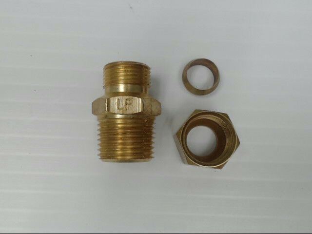 "Brass P-68-66-LF-B10 Tube to Male Straight Pipe 3/8"" x 3/8"" Adapter Fitting"