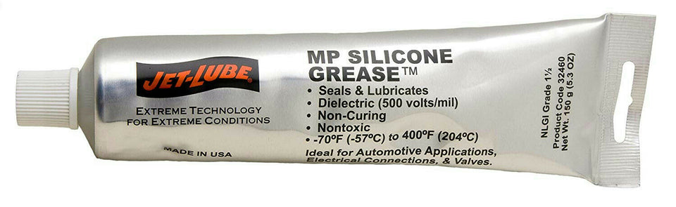 Jet-Lube 32460 MP Silicone Grease Translucent 5.3 oz Squeeze Tube