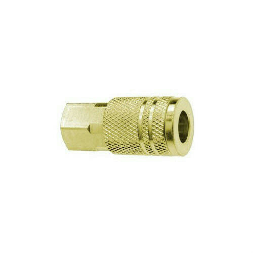 "Amflo C20B Series Air Compressor Hose Coupler 1/4"" I/M x 1/4"" FNPT Brass Plated"