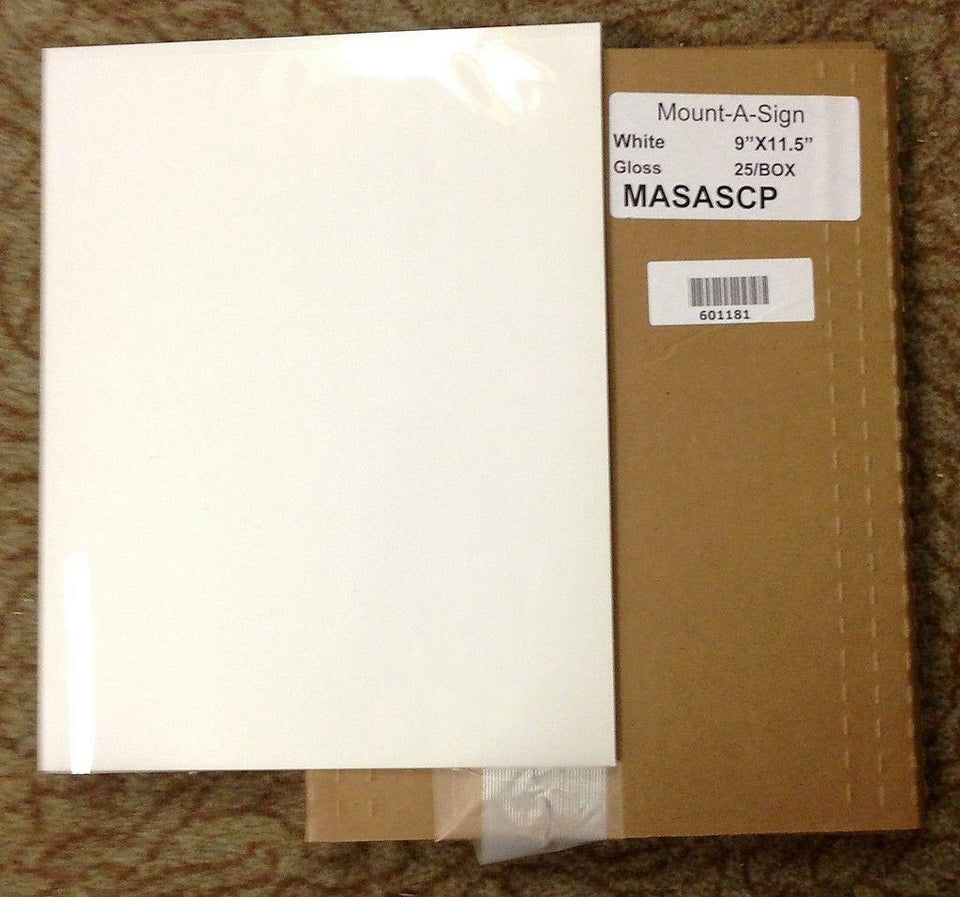 "Mount-A-Sign  9""x11.5"" White Gloss Pouch Boards 25/Box 601181 *New & Free Ship*"