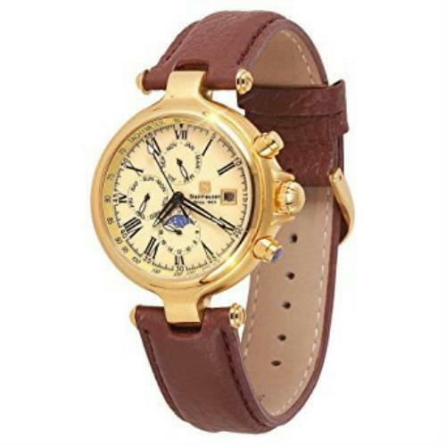 Steinhausen Men's Classic Gold Watch TW381G Automatic Movement w/ Brown Band