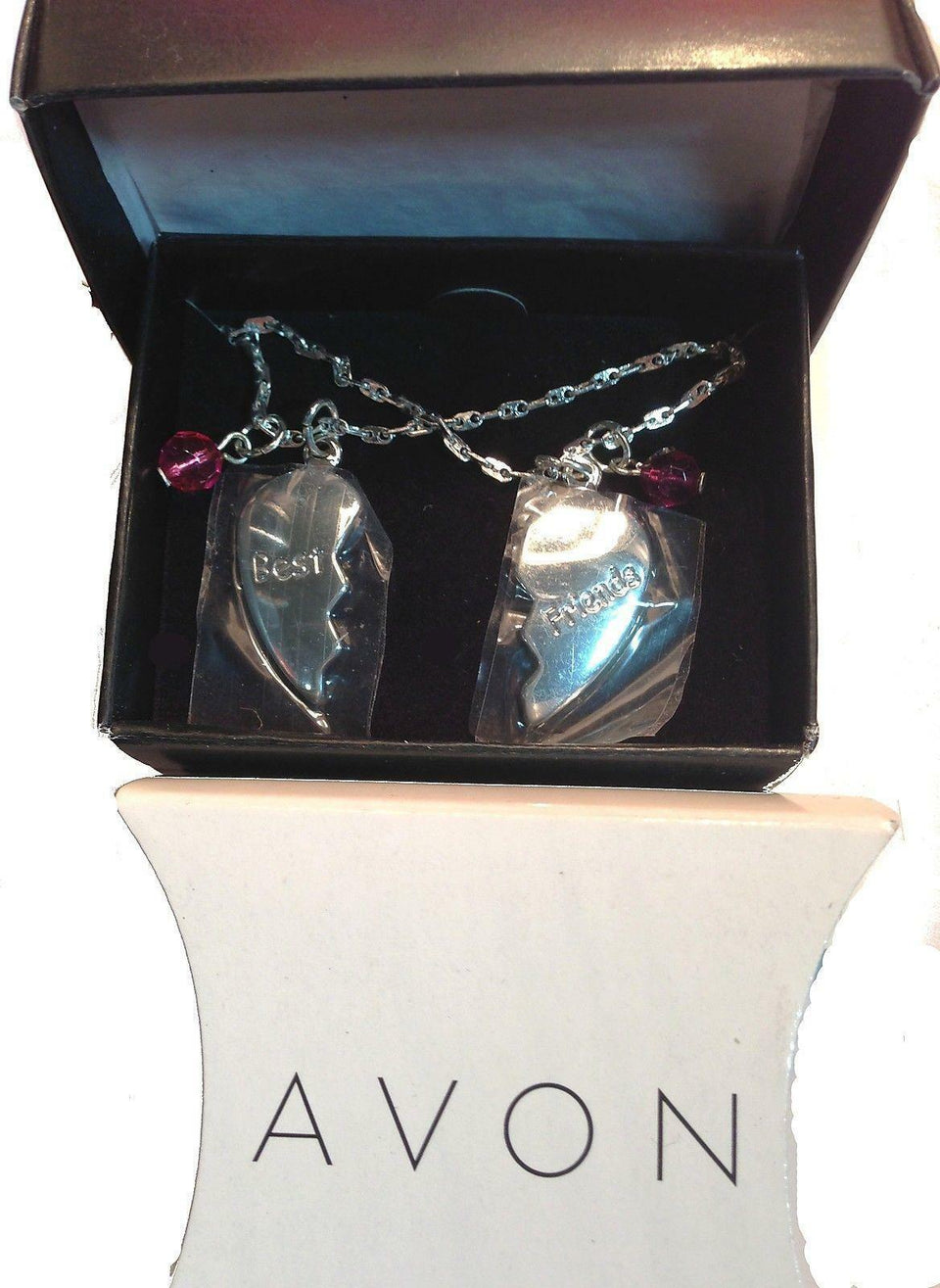 "Avon Friendship Heart Necklace 15"" Chain *Set of 2*"