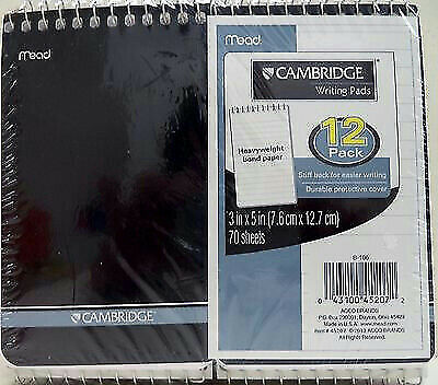 "Mead Cambridge *Pack of 12* College Ruled 3"" x 5"" Writing Pads 70 Sheets B-106"
