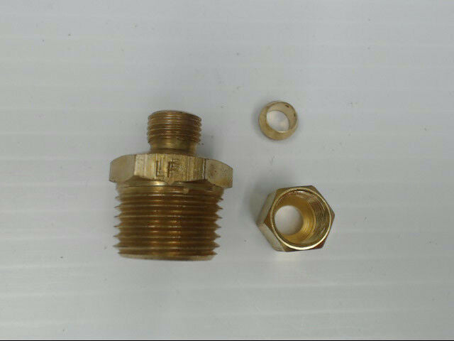"Brass P-68-48-LF Tube to Male Straight Pipe 1/4"" x 1/2"" Adapter Fitting *Qty 10*"