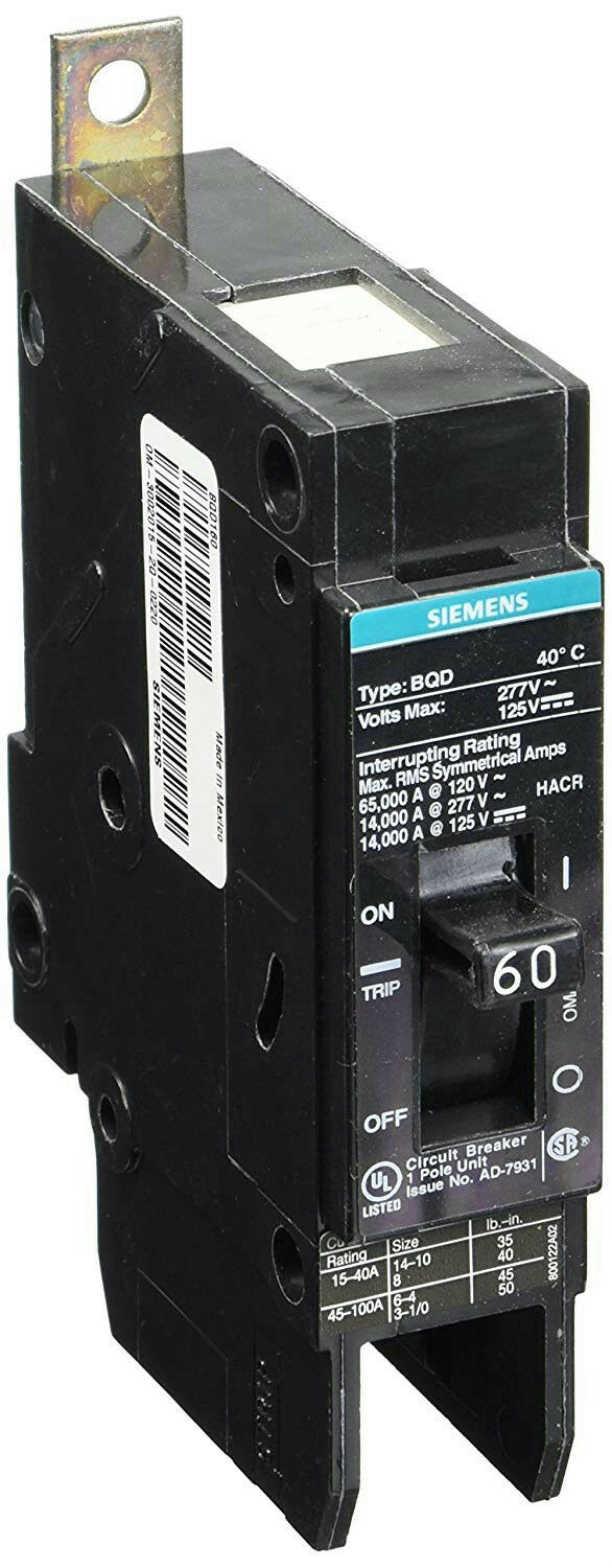 Siemens BQD160 Bolt On Molded Case Circuit Breaker 1 Pole 60A 277VAC 14K AIC